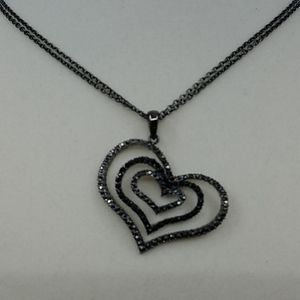 Jewelry - Crystal Black and Silver Heart Necklace